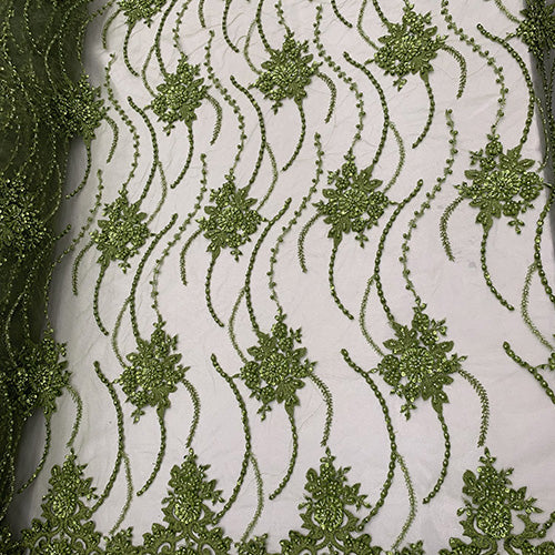 Lemon Green - NEW Paris Lace//Lace Mesh Beaded Flowers Hand Beaded Floral FABRIC By The Yard//Fashion Embroidery Lace//Heavy Beaded Fabric Prom Lace - IceFabrics