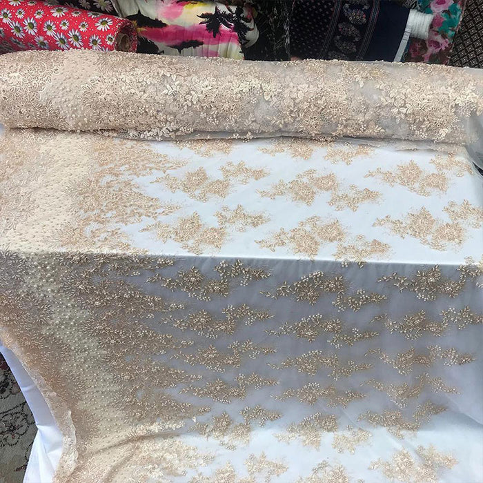 Light Peach - Designed Beaded Mesh Lace Fabric By The Yard - IceFabrics