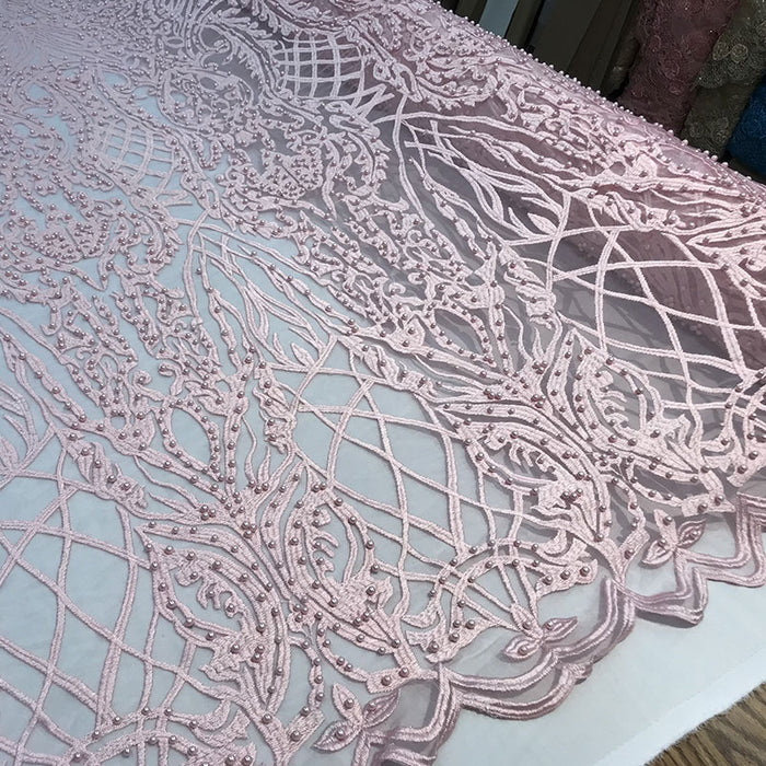 Light Pink - Multi Color Design Embroidered Beaded Lace Fabric - IceFabrics