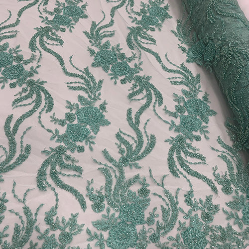 Mint - FRENCH FLOWERS BEADED MESH LACE FABRIC BY THE YARD - IceFabrics