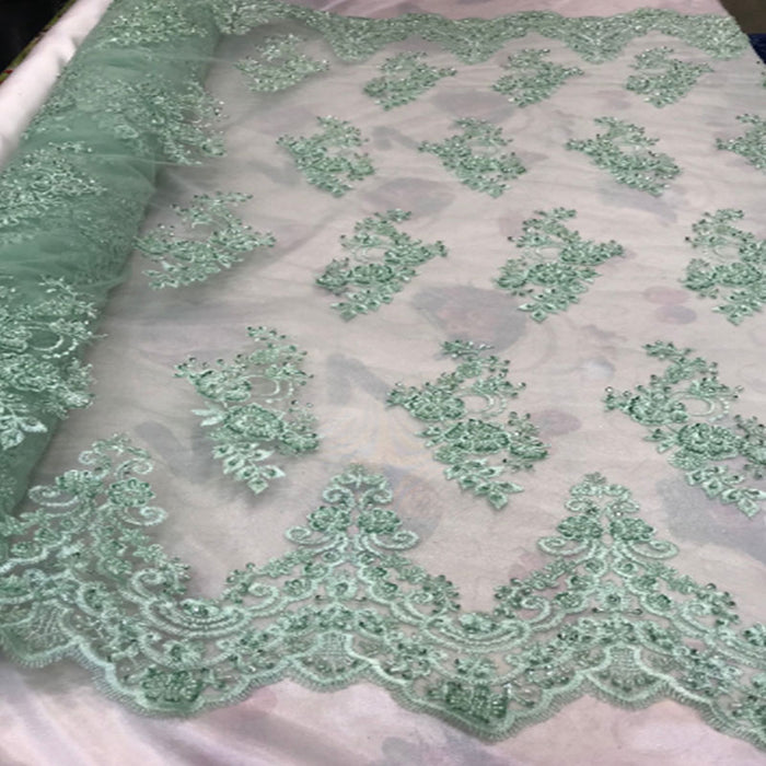 Mint - Floral Embroidered Bridal Wedding Beaded Mesh Lace Fabric - IceFabrics