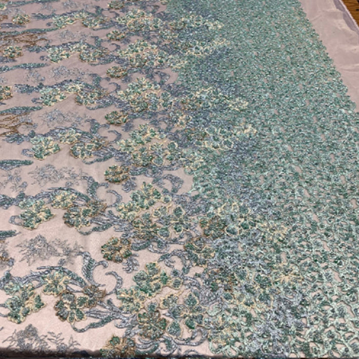 Mint/Blue - ITALIAN Design/ Floral Beaded Lace/Flower Mesh Lace Embroidery Fabric (By The Yard) Hand Beaded Lace  Wedding Prom Dress - IceFabrics