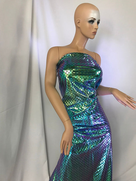 Mermaid Fish Tail Scale Sparkle Hologram Spandex Fabric By The Yard