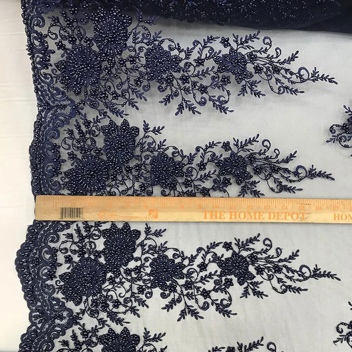 Navy - Lace By The Yard Embroidered Lace With Beads And Sequin French Bridal Veil Wedding Decoration Home tablecloths women fashion dress - IceFabrics