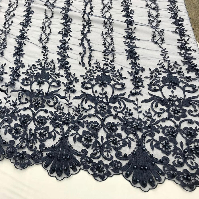 Navy Blue - Multi Design Beaded Fabric, Lace Fabric By The Yard - IceFabricsMulti Design Beaded Fabric, Lace Fabric By The Yard - IceFabrics