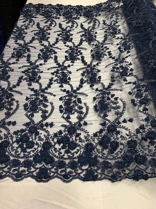 Navy Blue - 3D BEADED Flowers Bridal Beaded Mesh Lace Fabric By The Yard//  Fabric Floral Pattern Embroidered Lace With beads - IceFabrics