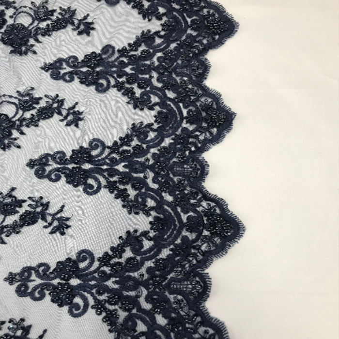 Navy Blue - Floral Embroidered Bridal Wedding Beaded Mesh Lace Fabric - IceFabrics