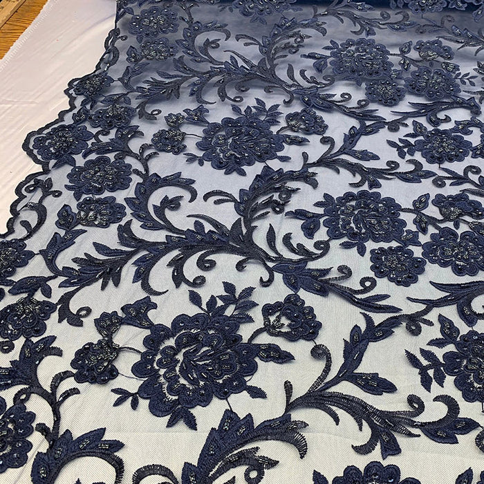 Navy Blue  - ONE Yard  Hand Beaded Lace Fabric Embroidery Mesh Floral Lace With Sequins AND Flowers Wedding Prom Dress Night Gowns  Veil - IceFabrics