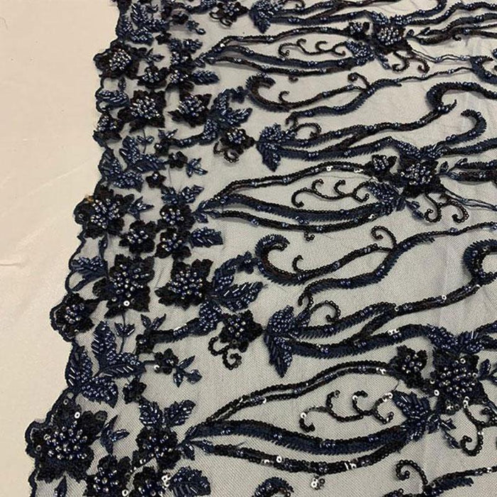 Navy Blue  - Elegant Embroidery Bridal Floral Flowers Beaded Lace Fabric (20 Colors) - IceFabrics
