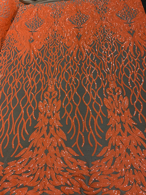 Neon Orange on Nude Mesh - Tree Damask 4 Way Stretch Sequins Embroidery Fabric - IceFabrics
