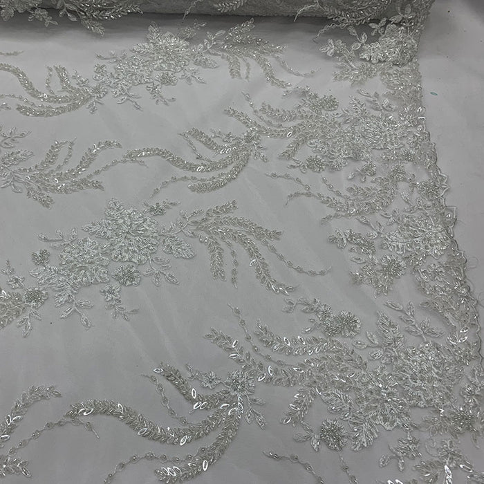 Off White - FRENCH FLOWERS BEADED MESH LACE FABRIC BY THE YARD - IceFabrics