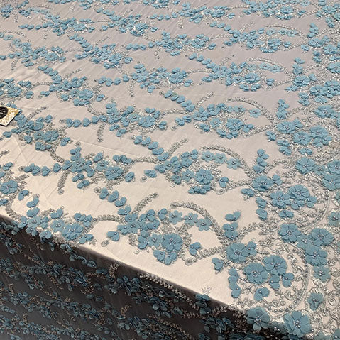 Light Blue - 3D BEADED Flowers Bridal Beaded Mesh Lace Fabric By The Yard//  Fabric Floral Pattern Embroidered Lace With beads - IceFabrics