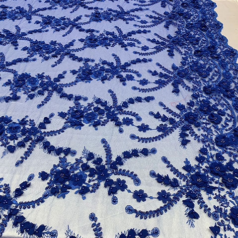 Royal Blue - 3D BEADED Flowers Bridal Beaded Mesh Lace Fabric By The Yard//  Fabric Floral Pattern Embroidered Lace With beads - IceFabrics