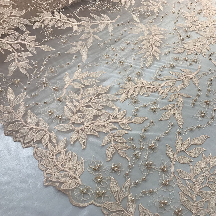 Peach - Shop Design Beaded Fabric,Lace Fabric By The Yard-Embroider Beaded For Bridal-Floral Mesh Dress Lace Prom-Nightgown skirts runners - IceFabric