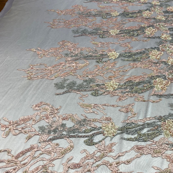 Peach/Gold/Sage/Cream - ITALIAN Design/ Floral Beaded Lace/Flower Mesh Lace Embroidery Fabric (By The Yard) Hand Beaded Lace  Wedding Prom Dress - IceFabrics