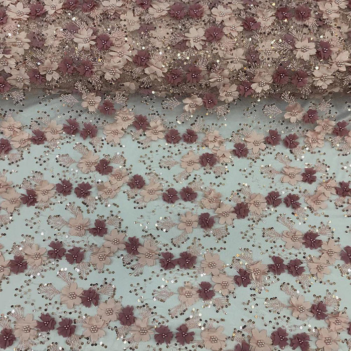 Pink - Floral 3D Flowers Beaded Lace With Faux Pearls Sequins ON The Edge Embroidered Hand Beaded Mesh Lace Fabric By The Yard - IceFabrics