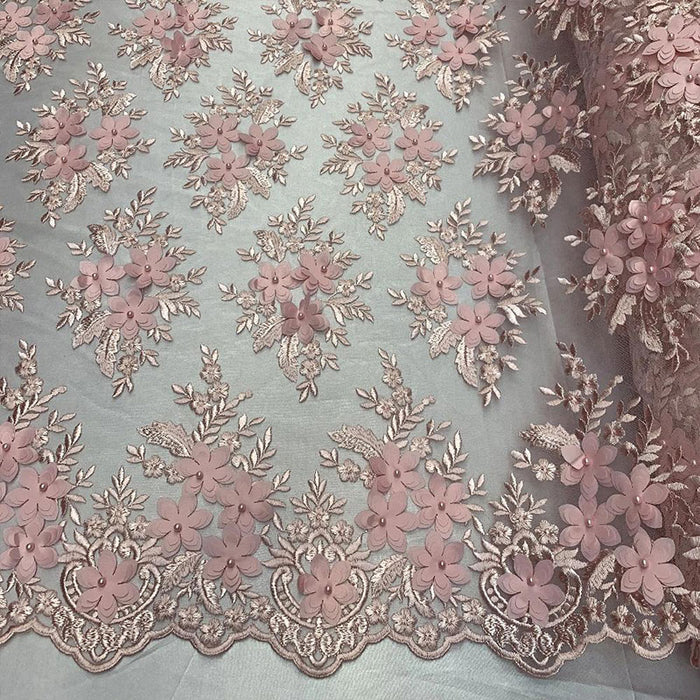 Pink - 3D Flowers Beaded Mesh Lace Bridal Fabric By The Yard/ Mesh Beaded Embroider Lace Floral Fabric/ Wedding Fabric, Prom Dress, Gowns - IceFabrics
