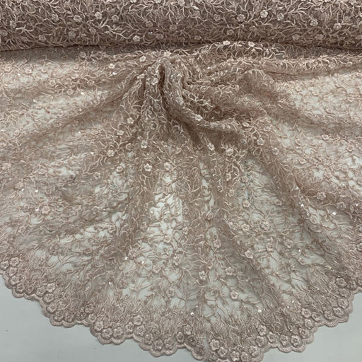 Pink - Floral Lace Beaded Fabric With Sequin On a Mesh By The Yard - IceFabrics