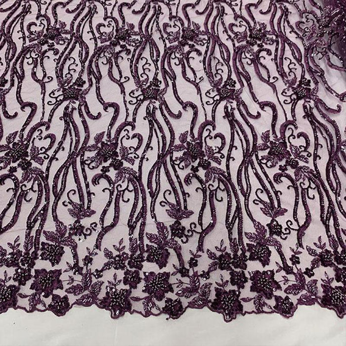 Plum - Elegant Embroidery Bridal Floral Flowers Beaded Lace Fabric (20 Colors) - IceFabrics