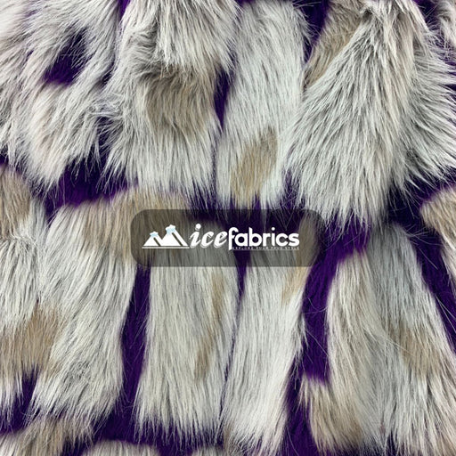 Purple - Rectangular Long Pile Fake Faux Fur Fabric By The Yard  (4 Colors) - IceFabrics