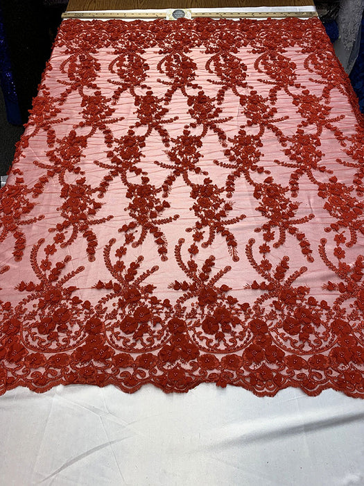 Red - 3D BEADED Flowers Bridal Beaded Mesh Lace Fabric By The Yard//  Fabric Floral Pattern Embroidered Lace With beads - IceFabrics