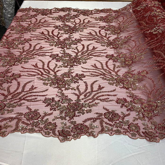 Burgundy - Handmade Floral Embroidery Bridal Lace Big Flowers Sequins Fabrics - IceFabrics