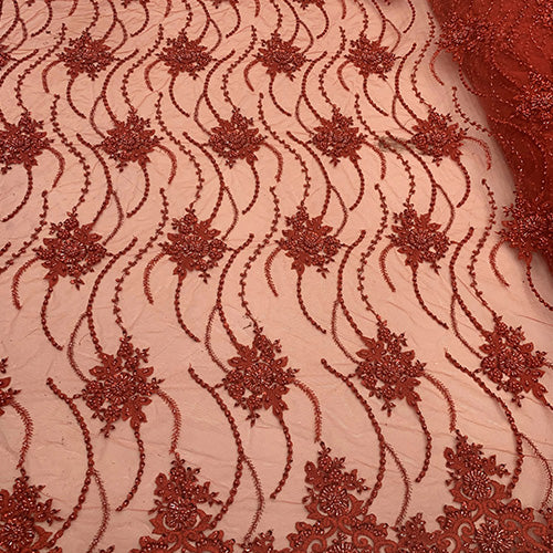 Red - NEW Paris Lace//Lace Mesh Beaded Flowers Hand Beaded Floral FABRIC By The Yard//Fashion Embroidery Lace//Heavy Beaded Fabric Prom Lace - IceFabrics