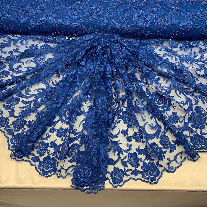 Royal Blue - ONE Yard  Hand Beaded Lace Fabric Embroidery Mesh Floral Lace With Sequins AND Flowers Wedding Prom Dress Night Gowns  Veil - IceFabrics