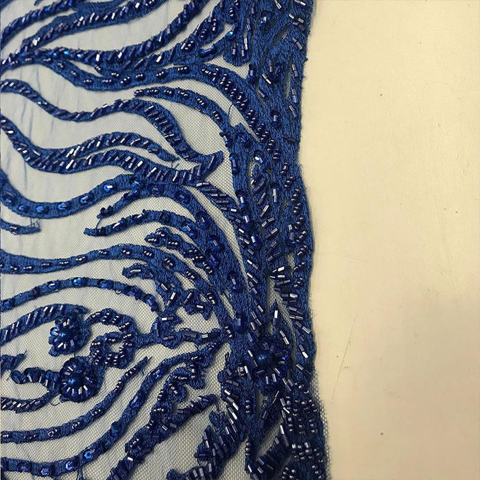 Royal Blue  - Lace By The Yard Embroidered Lace With Beads And Sequins French Bridal Veil Wedding Decoration Home women fashion prom dress - IceFabrics