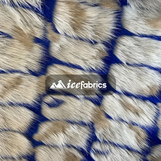 Royal Blue - Rectangular Long Pile Fake Faux Fur Fabric By The Yard  (4 Colors) - IceFabrics