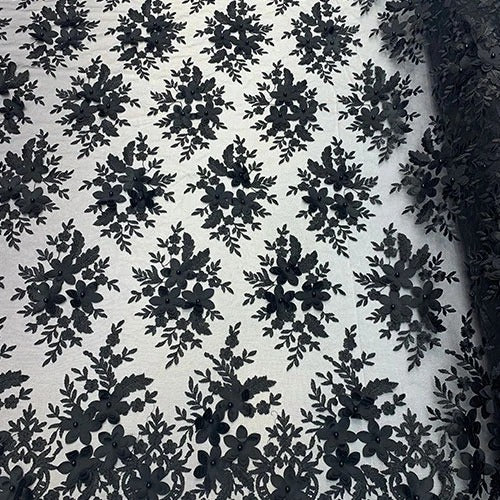 BLACK/ Double 3D Flowers Beaded Lace By The Yard/Embroider Heavy Beaded Guipur Lace Fabric// Floral Flower Bridal Lace/ Wedding Lace/ Gowns - IceFabrics