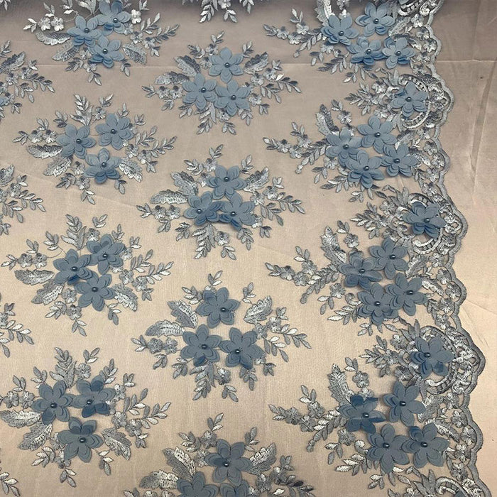 Sky Blue - 3D Flowers Beaded Mesh Lace Bridal Fabric By The Yard/ Mesh Beaded Embroider Lace Floral Fabric/ Wedding Fabric, Prom Dress, Gowns - IceFabrics