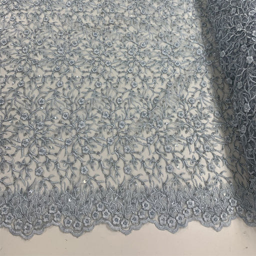 Sky Blue - Floral Lace Beaded Fabric With Sequin On a Mesh By The Yard - IceFabrics