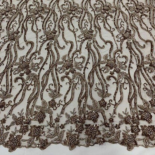 Taupe - Elegant Embroidery Bridal Floral Flowers Beaded Lace Fabric (20 Colors) - IceFabrics