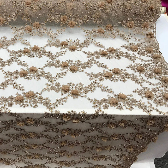 Taupe - 3D Embroidered French Beaded Mesh Lace Fabric - IceFabrics