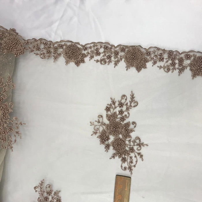 Taupe - Lace By The Yard Embroidered Lace With Beads And Sequin French Bridal Veil Wedding Decoration Home tablecloths women fashion dress - IceFabrics