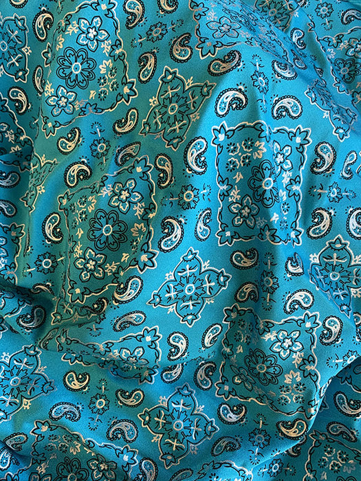 Turquoise - Poly Spandex 4 Way Stretch Fabric Bandanna Pattern Design Sold By The Yard - IceFabrics