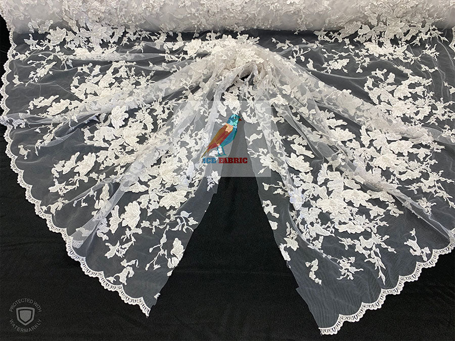 White - KING Design Fashion Bridal Lace//Embroidered Beaded 3D Flowers Lace//Floral Beaded Mesh Lace Fabric By The Yard//Prom Gowns Costumes - IceFabrics