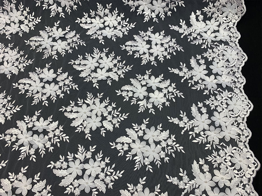 White - 3D Flowers Beaded Mesh Lace Bridal Fabric By The Yard/ Mesh Beaded Embroider Lace Floral Fabric/ Wedding Fabric, Prom Dress, Gowns - IceFabrics