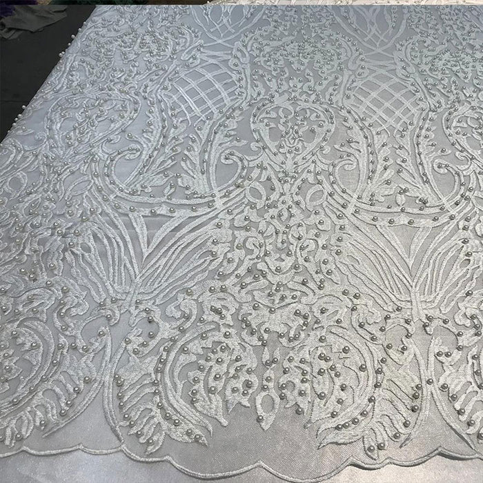 White - Multi Color Design Embroidered Beaded Lace Fabric - IceFabrics