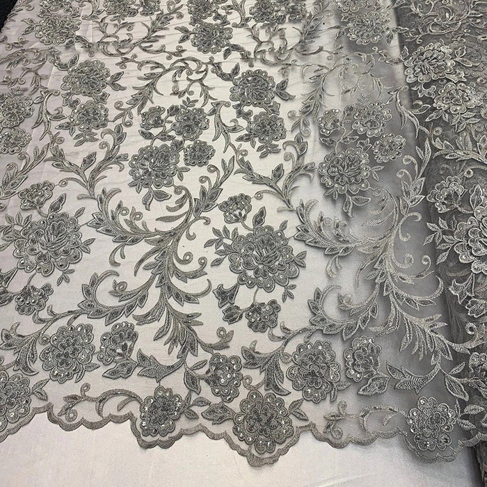 Silver/Gray - ONE Yard Hand Beaded Lace Fabric Embroidery Mesh Floral Lace With Sequins AND Flowers Wedding Prom Dress Night Gowns Veil - IceFabrics