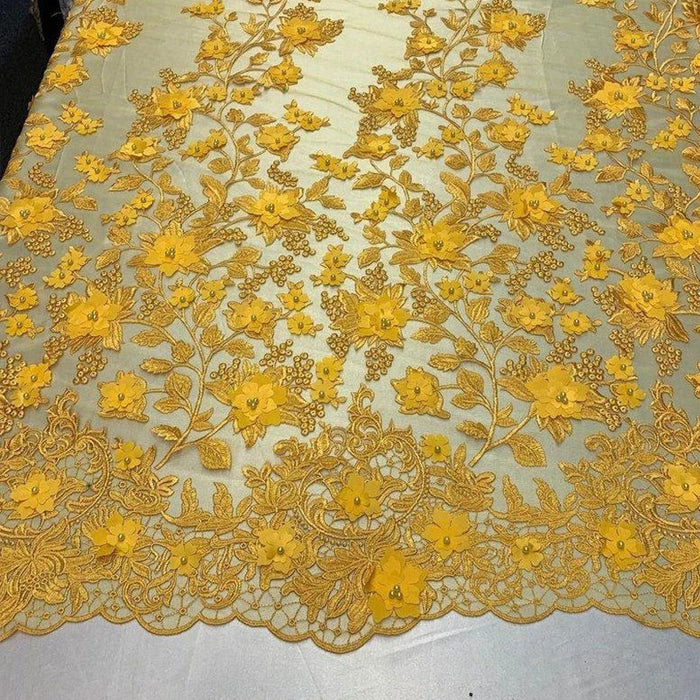 Yellow - HIGH QUALITY Beaded Lace Embroidery Mesh Lace Fabric By The Yard Handmade Floral Lace 3D Flowers Design With Beads And Pearls - IceFabrics
