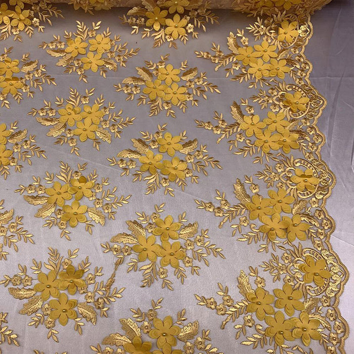 Yellow - 3D Flowers Beaded Mesh Lace Bridal Fabric By The Yard/ Mesh Beaded Embroider Lace Floral Fabric/ Wedding Fabric, Prom Dress, Gowns - IceFabrics