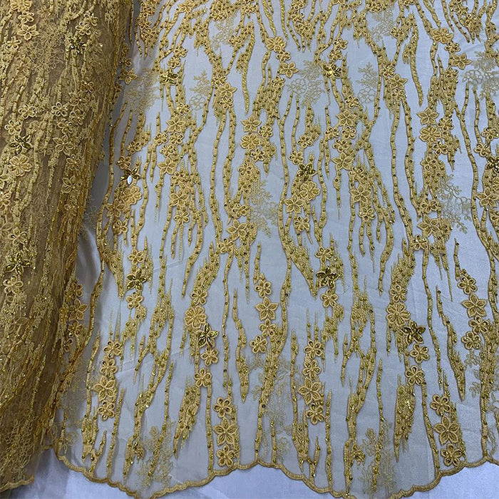 YELLOW - Wedding Lace Hand Beading Flowers With Sequins/ Floral Lace Fabric - IceFabrics