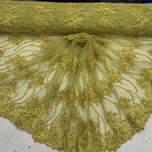 Yellow - NEW Paris Lace//Lace Mesh Beaded Flowers Hand Beaded Floral FABRIC By The Yard//Fashion Embroidery Lace//Heavy Beaded Fabric Prom Lace - IceFabrics