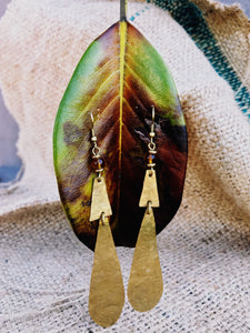 Zawadi tier drop Maasai brass earrings
