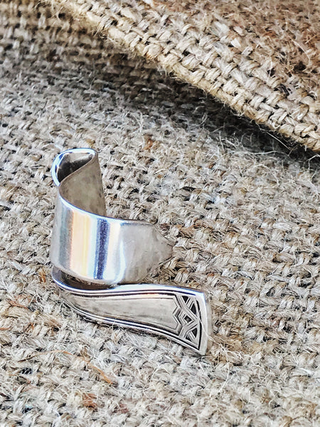 upcycled vintage spoon handle silverware ring | side view | 2 Sydney Stylists Loves