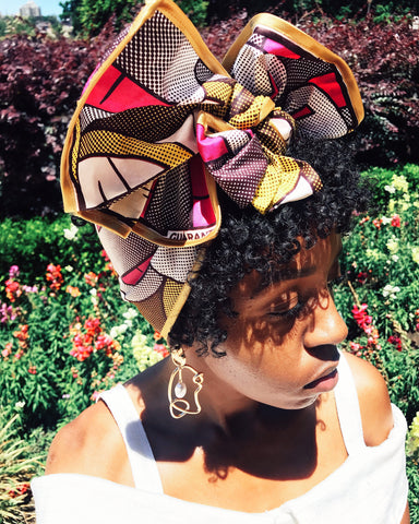 Wearing Tropicana African wax print head wrap style | 2 Sydney Stylists Loves