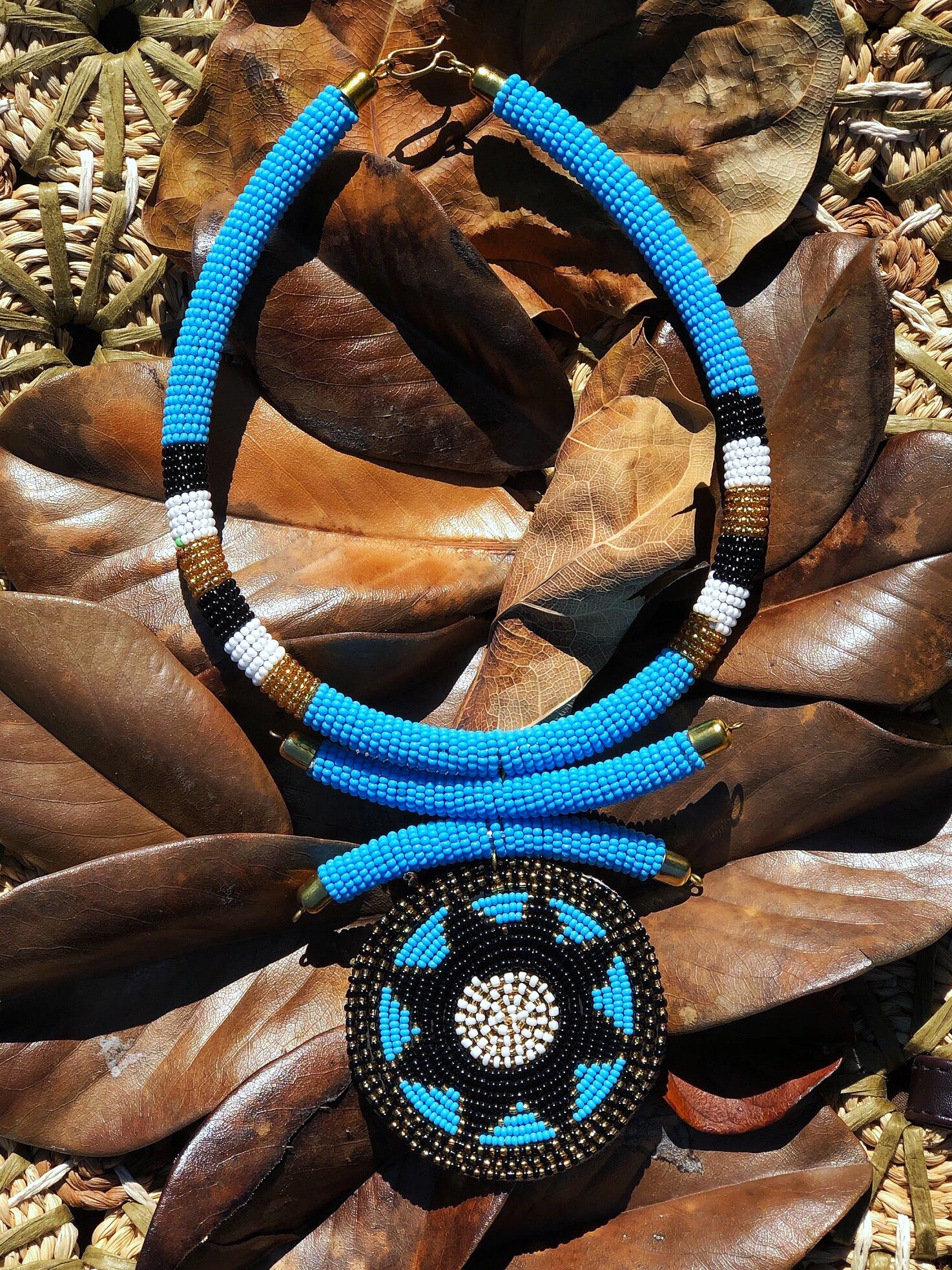 Blue and black Maasai beaded necklace | 2 Sydney Stylists loves