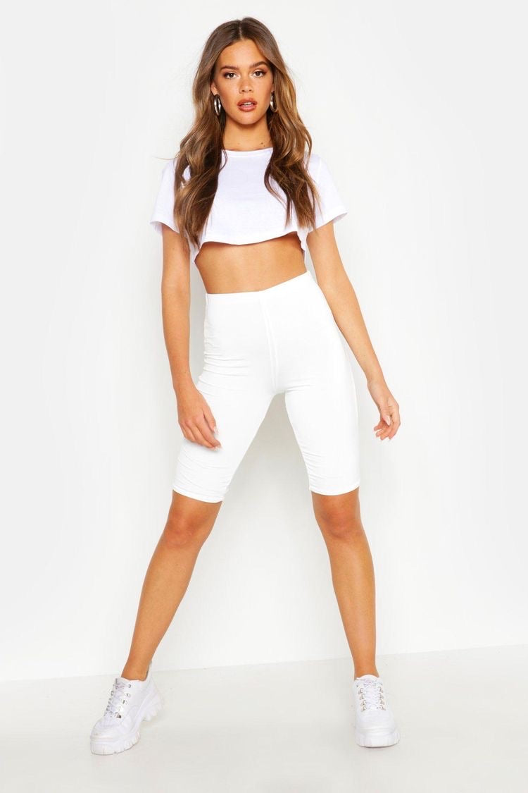 White cycling shorts